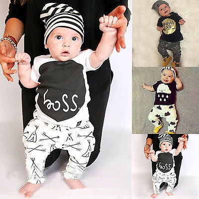 2pcs Kids Toddler Baby Boys Tops T-shirt Long Pants Leggings Clothes Outfits Set