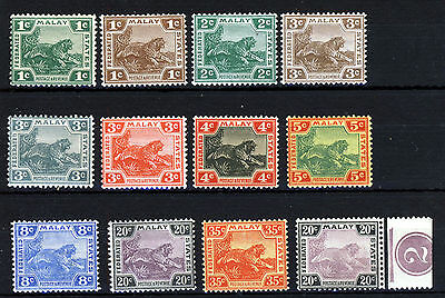 """FEDERATED MALAY STATES 1904-22 """"Tigers"""" Group Wmk MCCA SG 29 to SG 46 MNH & MINT"""