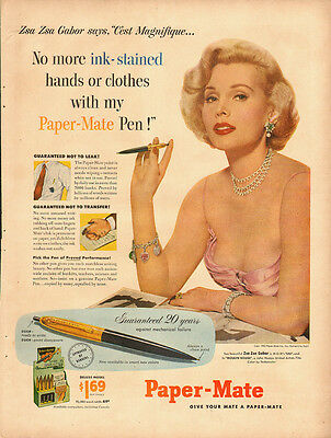1953 Vintage ad for Paper-Mate Pens with Zsa Zsa Gabor (120313)