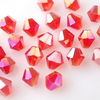 50pcs 6mm Bicone Faceted Crystal Glass Charms Loose Spacer Beads Findings Red AB