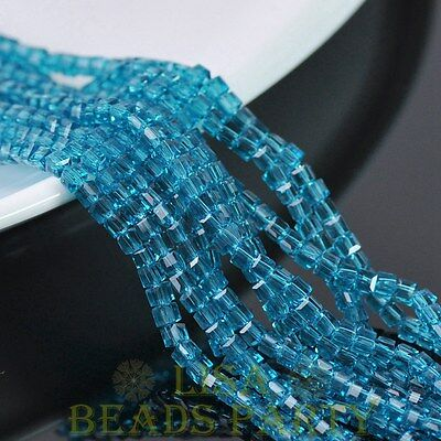 3mm 100pcs Cube Square Faceted Crystal Glass Loose Spacer Beads Peacock Blue