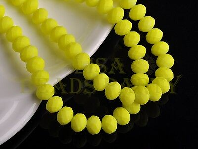 50pcs 8X6mm Faceted Rondelle Beads Loose Crystal Glass Paint Bead Yellow