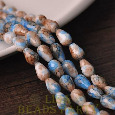 Hot 15pcs 12X8mm Teardrop Faceted Glass Loose Spacer Colorful Beads Deep Blue