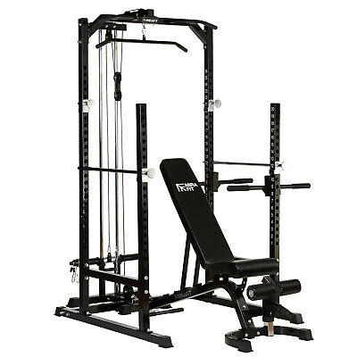 MIRAFIT Half Power Cage/Rack & Cable Pull Down with Adjustable FID Weight Bench