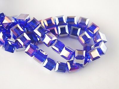 30pcs 6mm Cube Square Faceted Crystal Glass Charms Loose Beads Royal Blue AB