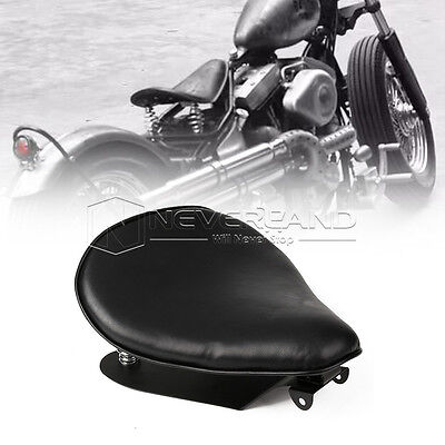 """13.4"""" Leather Solo Seat +Bracket Spring Mount For Harley Sportster Chopper Dyna"""