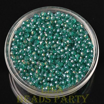 Hot 100pcs 4X3mm Crystal Glass Rondelle Faceted Loose Beads Peacock Green AB