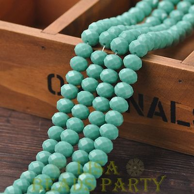 Hot 20pcs 10X7mm Crystal Glass Rondelle Faceted Loose Beads Opaque Turquoise
