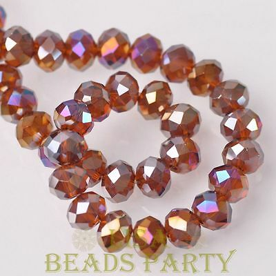 Hot 20pcs 10X7mm Crystal Glass Rondelle Faceted Loose Beads Deep Topaz AB