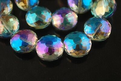 5pcs 18mm Round Discoid Faceted Crystal Glass Loose Beads Yellow Colorized Lot