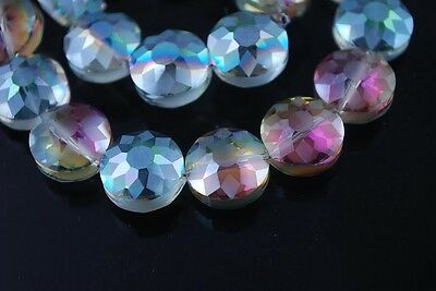 5pcs 14mm Round Discoid Faceted Crystal Glass Dull Polish Loose Beads Rose Green