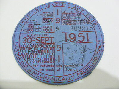 Vintage Motorcycle Tax Disc-RARE-Expired 30th September 1951-Very Good Condition