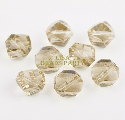 30pcs 10mm Twist Helix Crystal Glass Findings Loose Spacer Beads Light Champagne