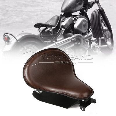 "13.4"" Brown Leather Solo Seat Bracket Springs For Harley Sportster 883 1200 XL"