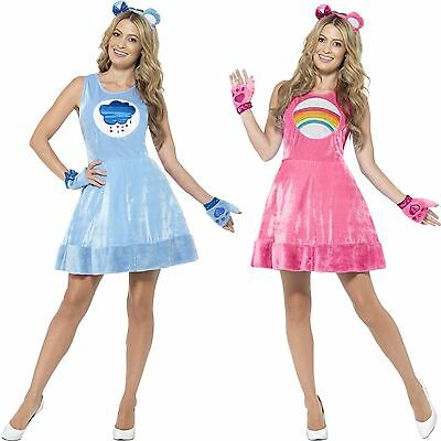 Ladies Care Bear Costume Adult Grumpy Cheer Bear 80s Fancy Dress Outfit