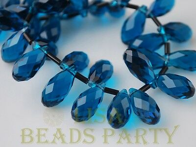 Hot 10pcs 16x8mm Teardrop Faceted Glass Pendant Loose Spacer Beads Peacock Blue