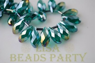 Hot 10pcs 16x8mm Teardrop Faceted Glass Pendant Loose Spacer Bead PeacockGreenAB