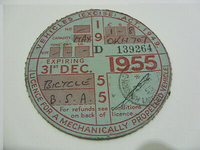 Rare Motorcycle Tax Disc-Expired 31st December 1955-B.S.A. Motorcycle-OKH 707