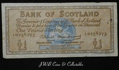 1962 Bank Of Scotland £1 One Pound Note AI 0258273 - Ref - T/M