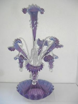 Amethyst And Opaline Glass Epergne. Stunning Centrepiece.