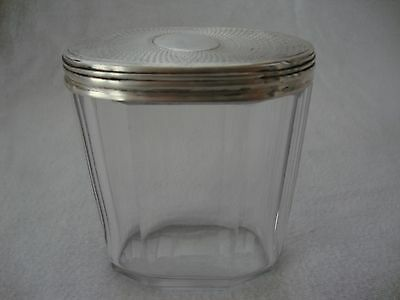 Antique Solid Sterling Hallmark Silver Topped Glass Ladies Dressing Table Pot