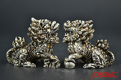 Collectible China Handwork Tibet Silver Carving Dragon Kylin Noble Pair Statue