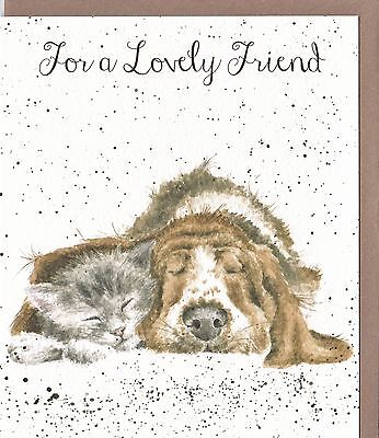 "Country Set Greeting Card Wrendale Designs Dog & Cat ""For A Lovely Friend"""