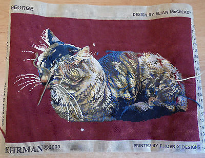"Part Done Ehrman Tapestry ""George"" Cat by Elian McCready"