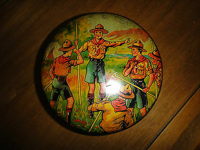 Rare Boy Scouts Biscuit Sweet Cake Tin Scouting Scene in Uniform Toggle Belt Cap