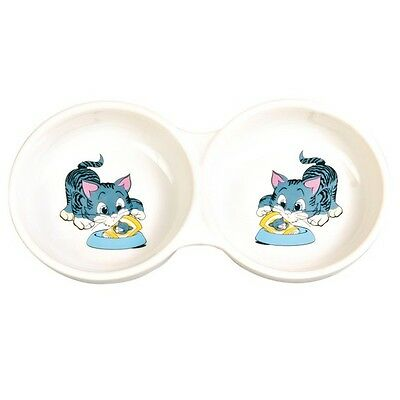 New Trixie Double - Ceramic Food / Water Cat Bowl - 4014