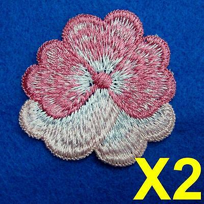 2 Flower Floral Lace Applique Sew On Patch Collar Decoration Embroidery Motif