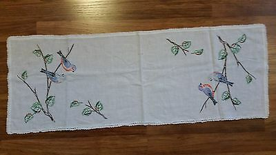 Vintage Birds on Tree Branches Hand Embroidered Dresser Scarf Table Runner