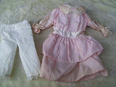 Alte Puppenkleidung Pink White Dress Outfit vintage Doll clothes 40 cm Girl