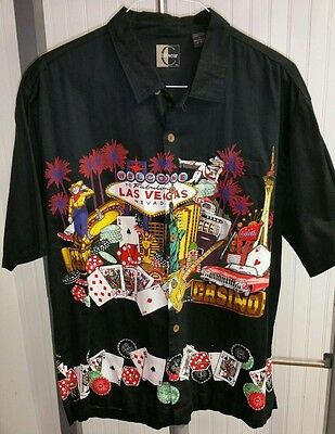 Welcome to Las Vegas Strip Casino Chips Gambling Rockabilly Camp Shirt Men's L