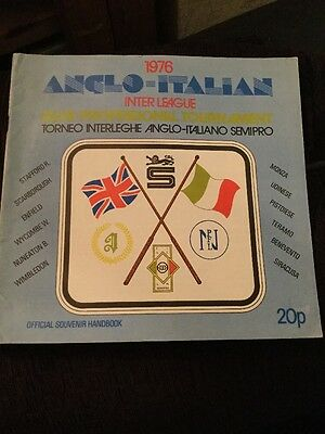 Anglo Italian Cup Brochure 1976 - Wimbledon, Wycombe Wanderers, Stafford Rangers