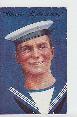 Royal Navy novelty postcard - Cheerio, Leave it to us!