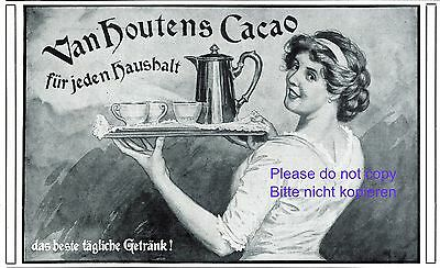Cocoa Van Houten German 1913 ad tray service housewife houshold advertising +