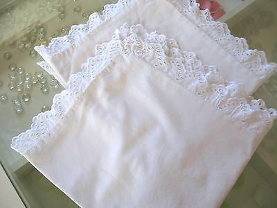Pair of Vintage French Cotton Pillowcases with  Scalloped Lace Border