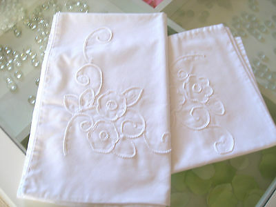 Pair of Vintage French Cotton Pillowcases with  Embroidery