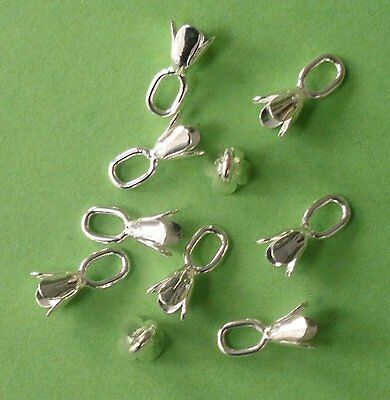 20 x 12mm silver plated bell caps with large top loop, findings for jewellery