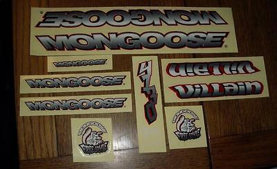 NOS BMX Mongoose Villain Bicycle Sticker Set