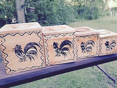 Vtg Wood Canisters Rooster WoodPecker Handcrafted Japan DoveTail Hamburger Press