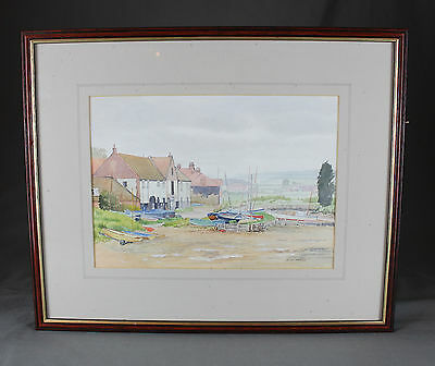 Vintage Watercolour Burnham Ovary Staithe Norfolk by Sid Moss