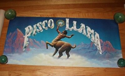"vtg 70s PISCO LLAMA Tequila promo poster 18""x39"" * ad advertisement bar"