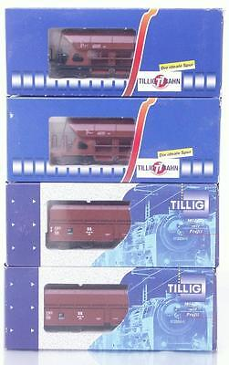 4 Mint Tillig Tt Gauge 95312 95151 95160 - German Dr Livery Bogie Hopper Wagons
