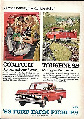 1963 Ford Farm Pickup Truck Comfort Toughness Ad
