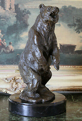 Kodiak Grizzly Bear Lodge Wildlife Lodge Artwork Bronze Marble Statue Sculpture