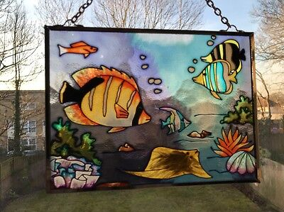 Stained Glass Tropical Fish Panel