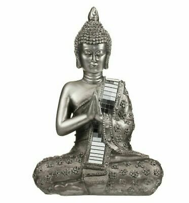 Meditating Thai Buddha Silver Statue Sculpture Ornament 22 cm Figurine