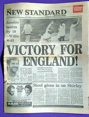 London Evening Standard Tuesday July 21, 1981. England shock victory, 3rd Test